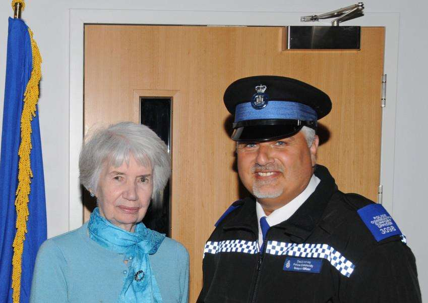 PCSO David Harvey, right, receives the Sheepshanks Trophy from Lilias Sheepshank (OBE)