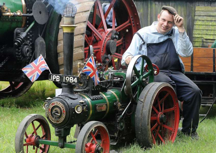 Woolpit Steam Rally 2014''Pictured: James Brett with a 1:4 Burrell ANL-140106-204025009
