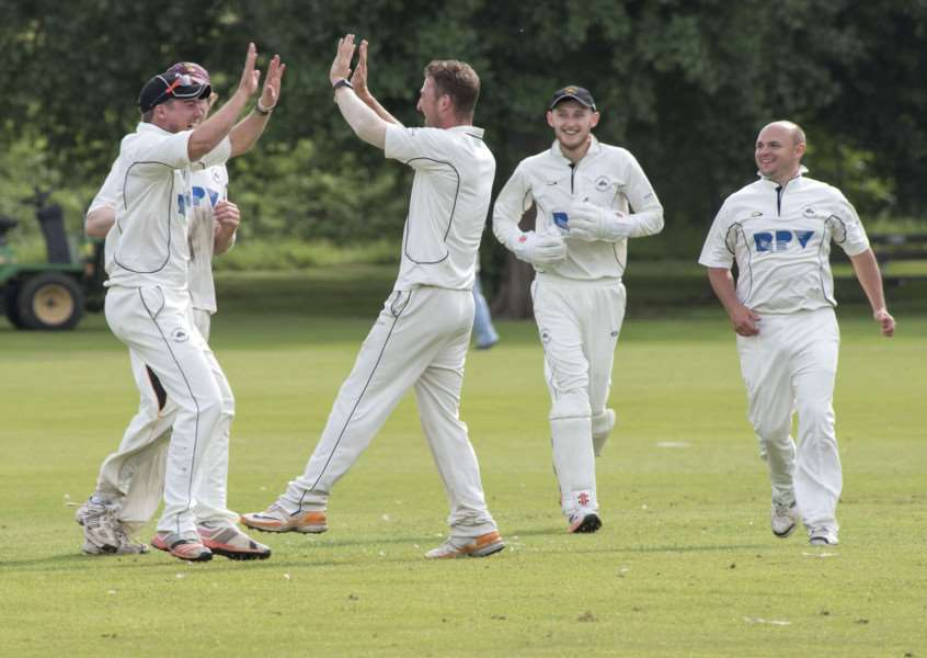 MILDENHALL: Cricket - Mildenhall v Witham'Mildenhall bowler Steve Taylor celebrates wicket.'Picture Mark Westley ANL-161206-102423009