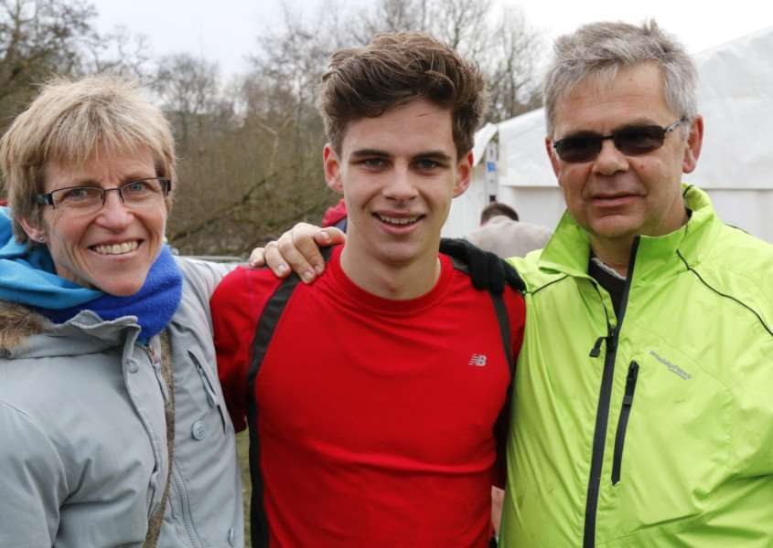 Christine, Seb and Neil Anthony pictured at the English Schools Cross Country in Blackburn in March