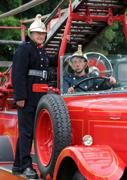 Dave Bennett and Roger Thread with a 1935 Leyland open pump, which was used in Dad's Army