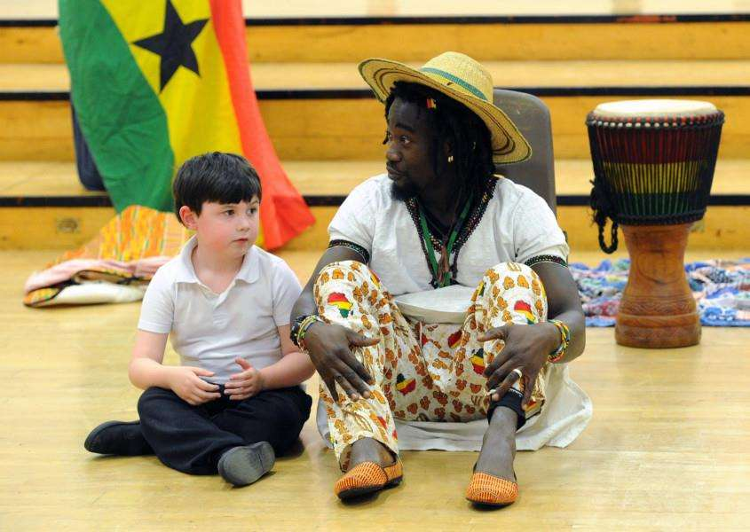 Howard Primary School has been learning about Africa and had some African drumming lessons with Kwaku''''PICTURE: Mecha Morton