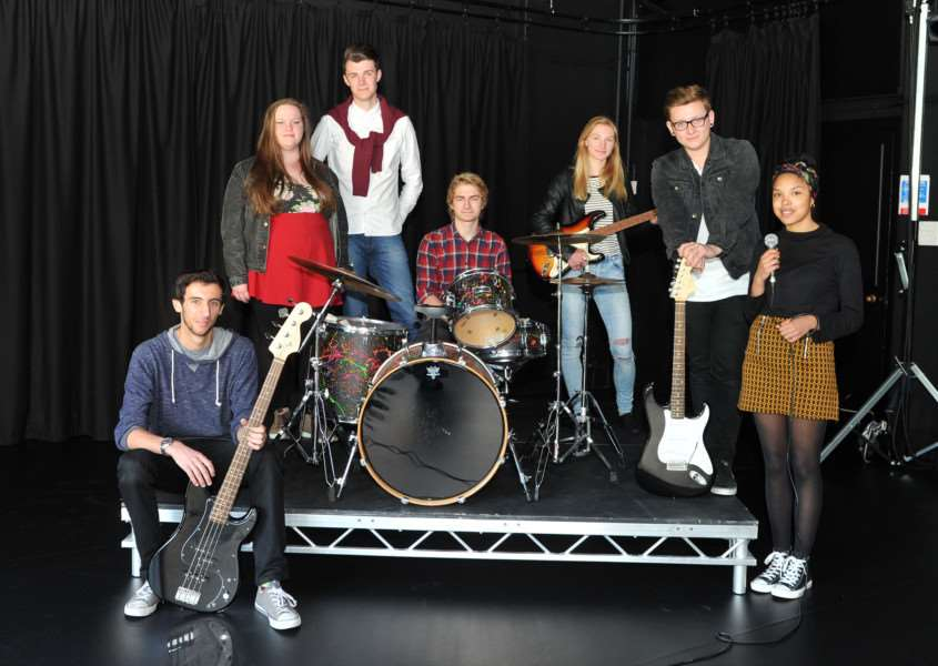 Some of Year 12 Performing Arts students at Thurston Sixth Form (recently entered a competition to compose an anthem for the Suffolk Schools games and won. ANL-150616-154453009
