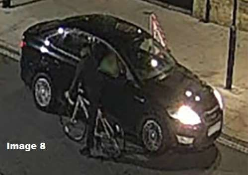 Police Corrie McKeague search CCTV Image 8 shows a man on a cycle, who they still want to speak to, talking with taxi drivers close to the Grapes public house.