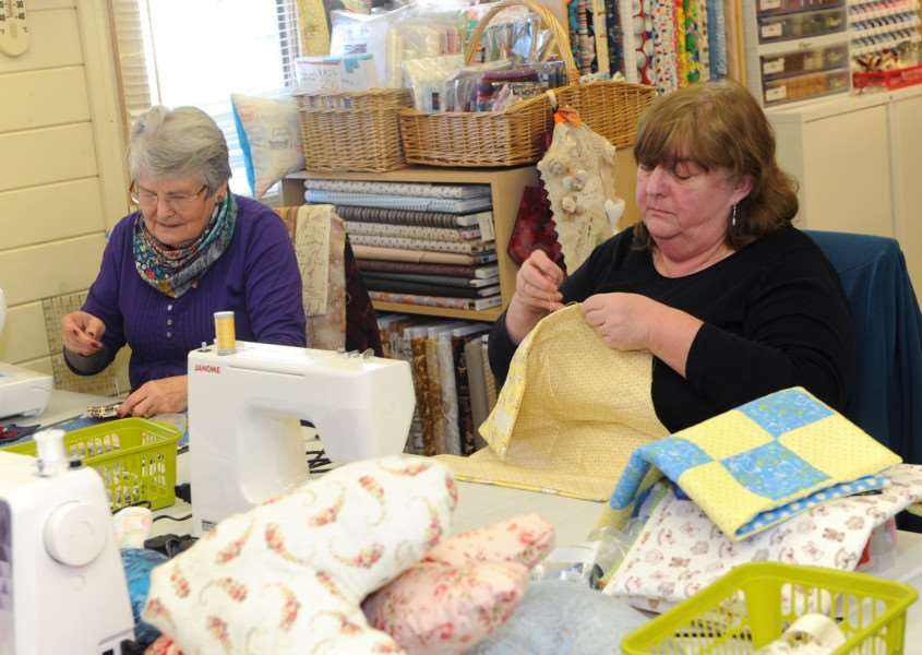Heart cushions and quilts are being made for West Suffolk Hospital''Pictured: Judy Yates and Diana Lynn