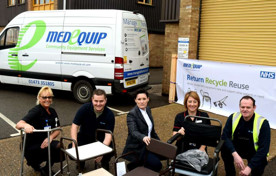 Medequip staff Michael Bryant and John Elgie are joined by (left to right) Rowan Procter, chief nurse at West Suffolk NHS Foundation Trust, Jan Thomas, chief contracts officer at NHS Ipswich and East Suffolk CCG and NHS West Suffolk CCG, and Lisa Nobes, chief nurse at The Ipswich Hospital Trust to launch the Return Recycle Reuse NHS equipment campaign