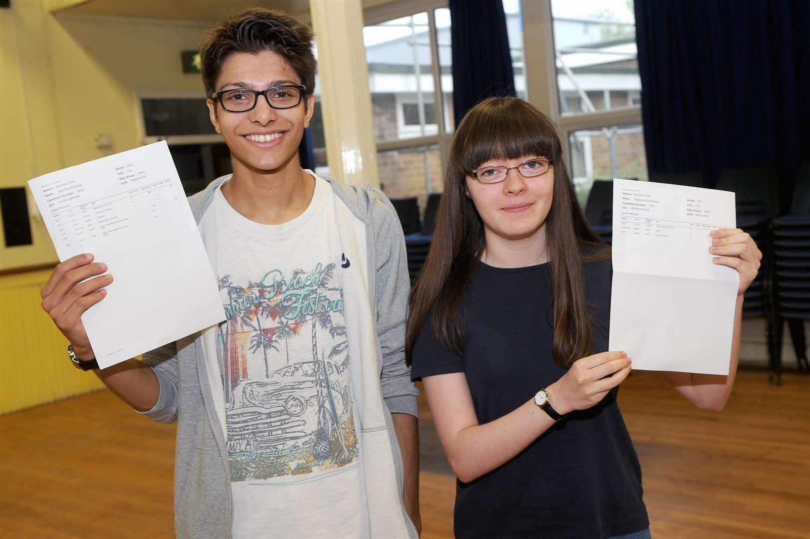 A Level Results 2018 - County Upper..Pictured: Ben Amroota - A* (x2), A and Rebecca Severy - A* (x3)...PICTURE: Mecha Morton... .. (3631870)