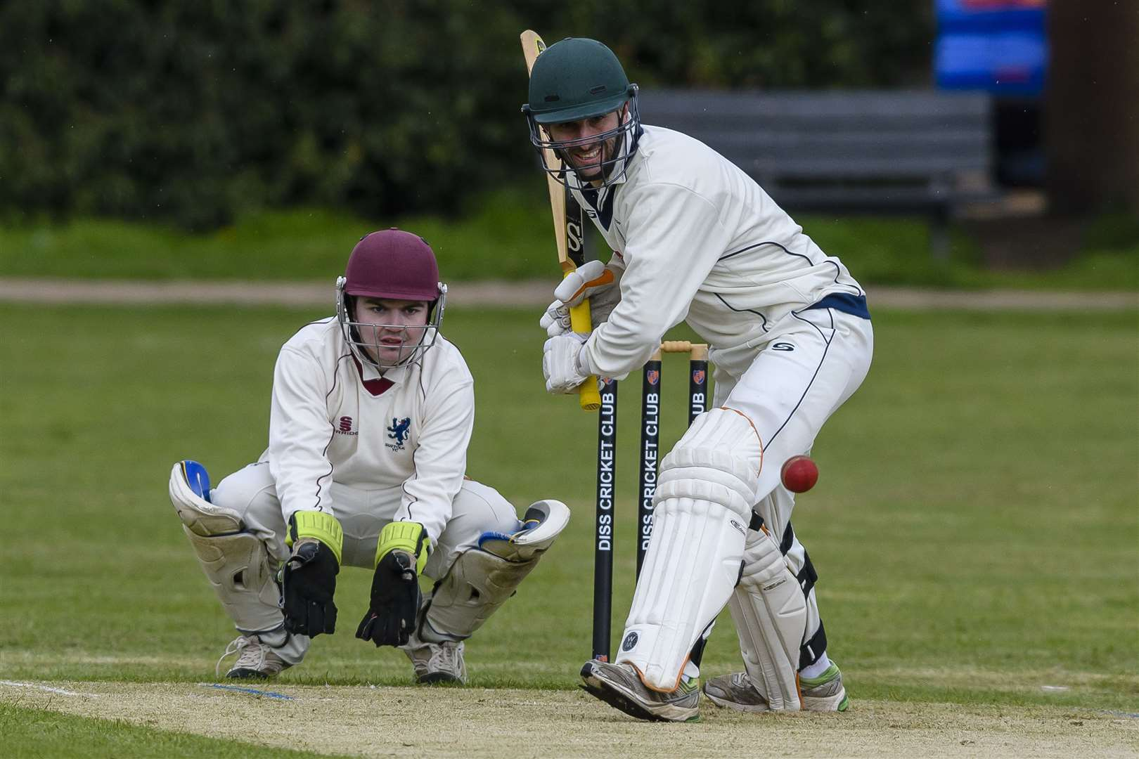 Cricket action from Diss v Worlington, pictured is Craig Estlea in bat for Worlington and Lewis Taylor in wicket. ..Picture: Mark Bullimore Photography. (12156833)