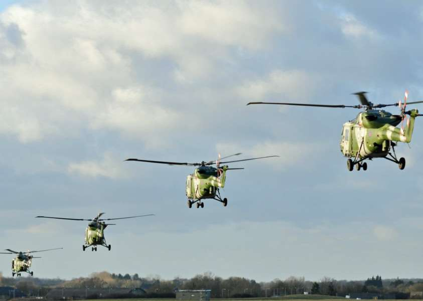 The Army's last Lynx helicopters making a farewell visit to Wattisham air station after 40 years service. Picture by Staff Sergeant Brian Pearce, British Army'