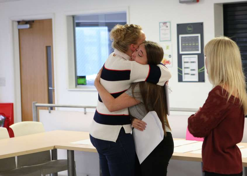 Joy and relief on A levels results day at Samuel Ward Academy. Picture by Russ Bennett
