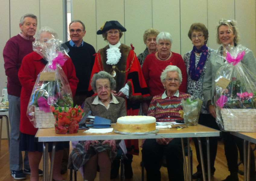 Golden Days Club's organiser Joyce Talboys, left, and chairwoman Elsie Wicks, both seated, with Mayor Julia Waklem and club supporters ANL-161212-180349001