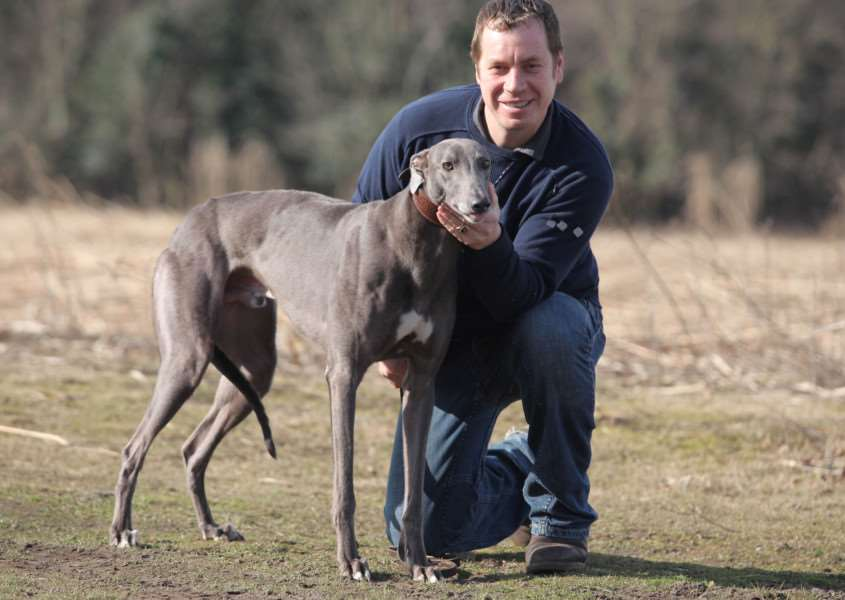 HOPE: Greyhound trainer Mark Wallis hopes Bruisers Bullet can enjoy big race success in 2018. Pictured here with Directors Spur