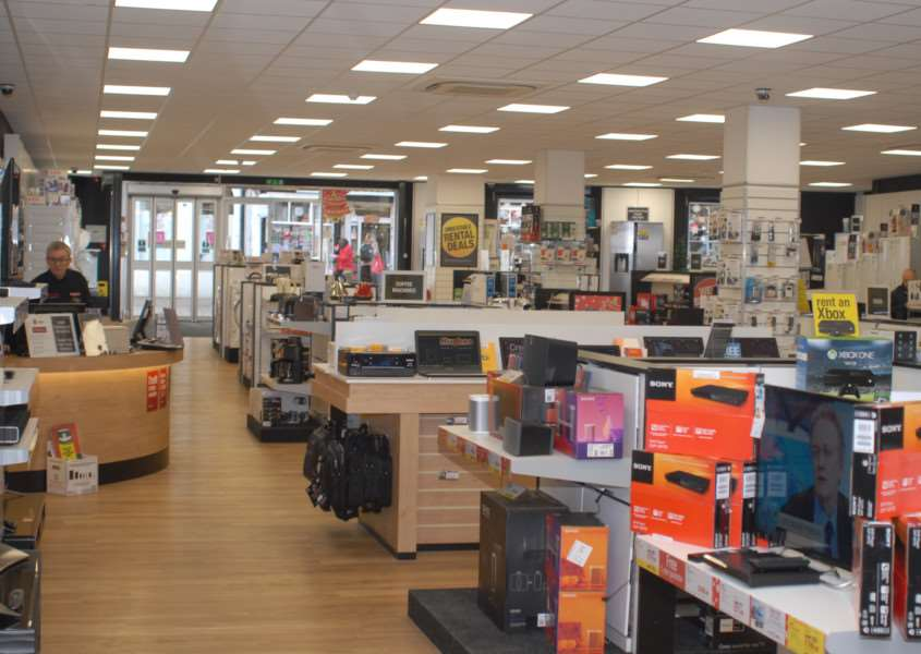 Interior of Bury's new Hughes Electrical store