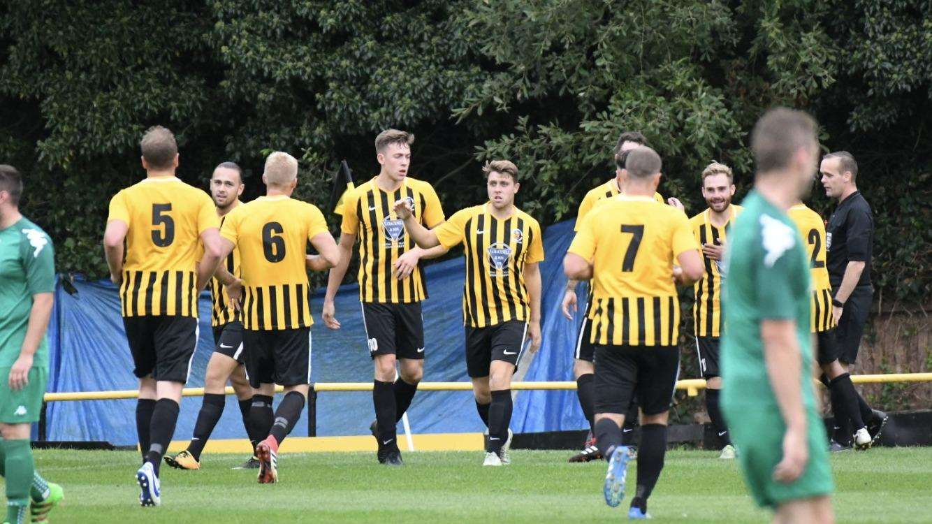 EARLY OPENER: Stow players celebrate Josh Mayhew opening the scoring against Gorleston on Saturday