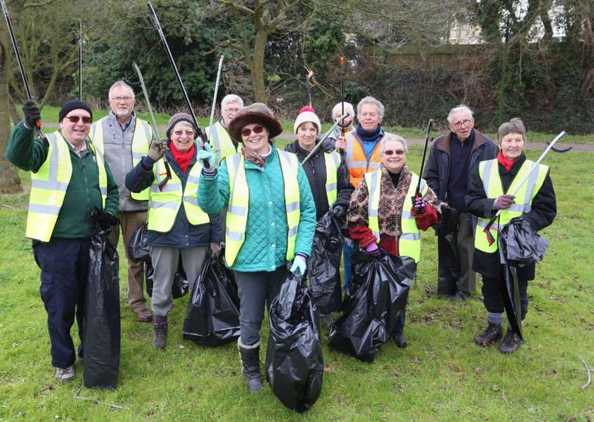 Margaret Maybury (Front Centre) and other villagers from Acton set out on their annual litter pick.'Pic - Richard Marsham ANL-160316-110343009