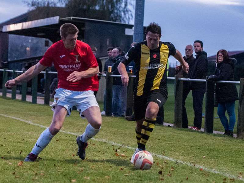 HOME DEFEAT: Match action from Debenham LC's 3-1 loss in the Thurlow Nunn League First Division Picture: Al Pulford