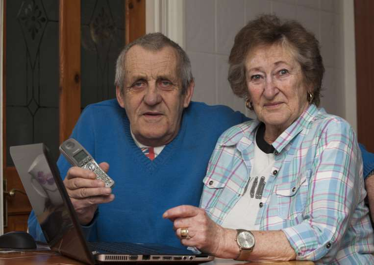 Doreen and Alan Fairclough from Tuddenham who's phone line has been down for 2 weeks due to a car crashing in the line. ANL-150317-231754009