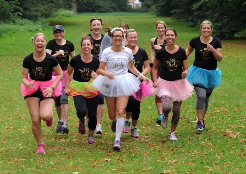 Bride-to-be Clare Steadman with friends at her 50th Park Run on the morning of her wedding day (picture: Mecha Morton)