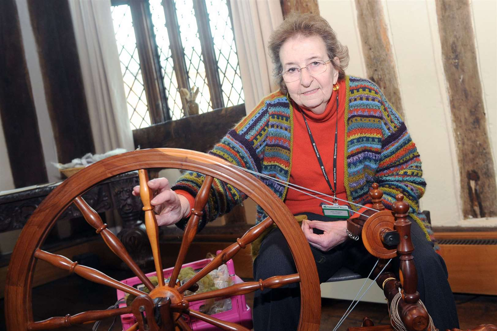 Lavenham Guildhall Big Spinning Day..Pictured: Jean Rogers with her Leicester wheel....PICTURE: Mecha Morton.... (8611045)