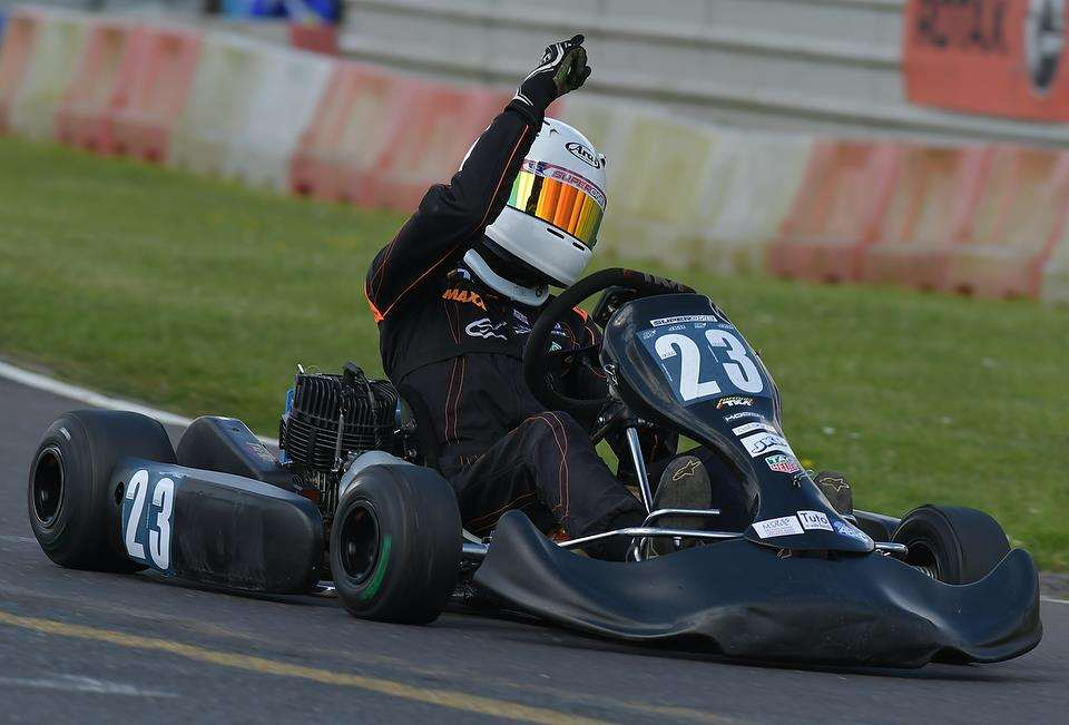 Oliver Richardson after winning round two of the Super One MSA British Karting Championship - Junior TKM class (2509361)
