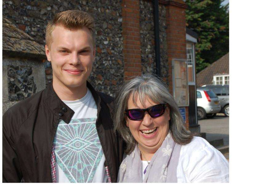 Patrick Davis pictured with his English teacher, Mrs Wingham