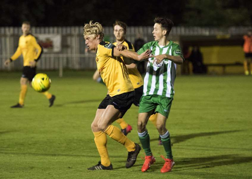 NO WAY PAST: Rob Ruddy in action against his former club Soham