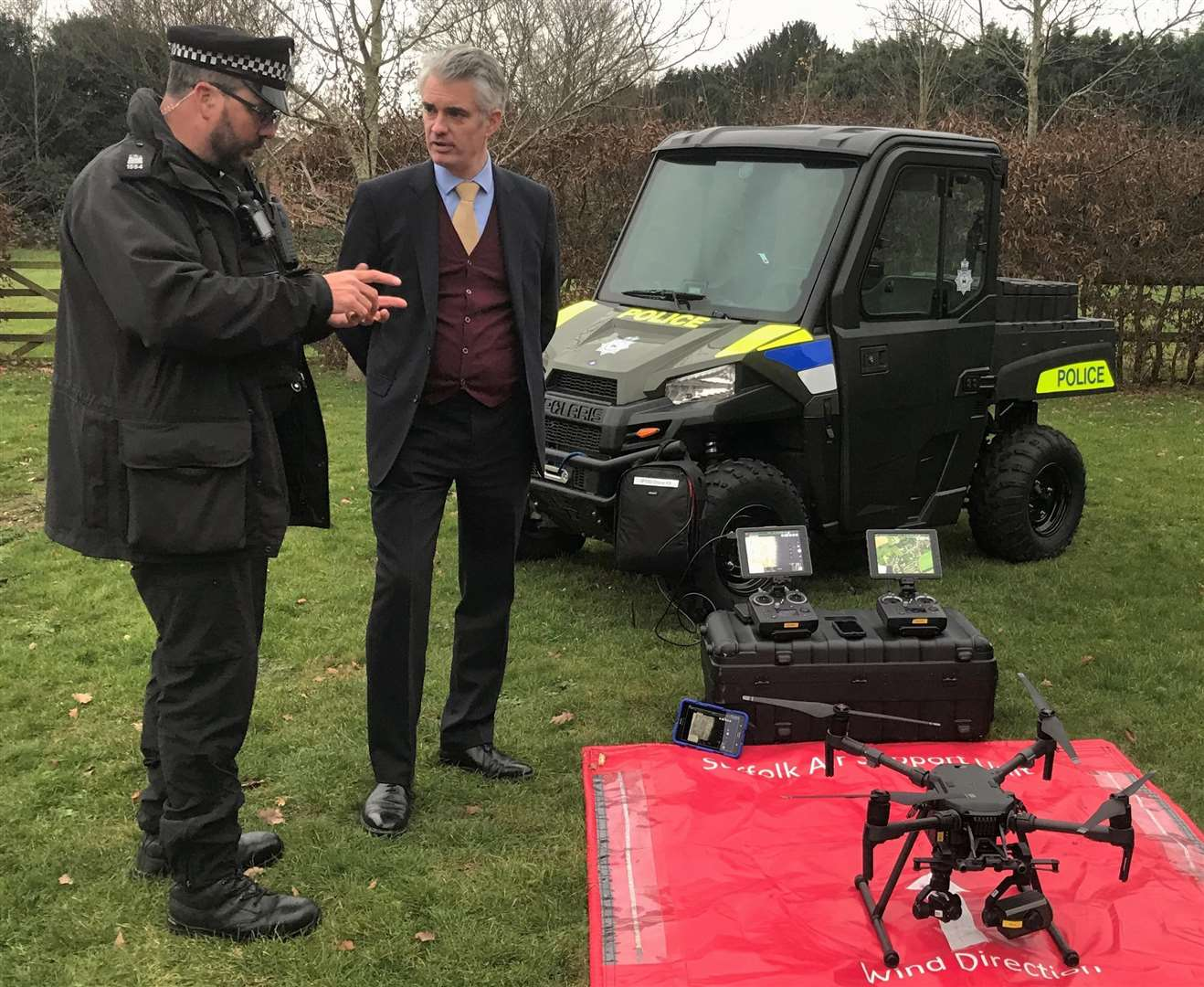 South Suffolk MP James Cartlidge discusses Suffolk Constabulary's use of a drone to tackle hare coursing, during a rural crime summit in Lavenham in December 2018. Submitted photo. (6424379)