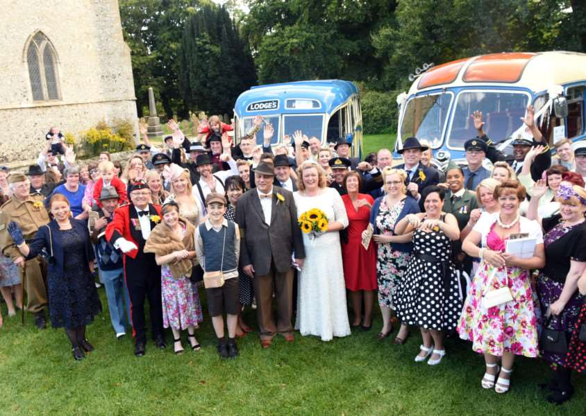 Paul Millar and Carol Groves getting married in a1940s themed wedding celebration at Holkwold Church ANL-150927-202204009