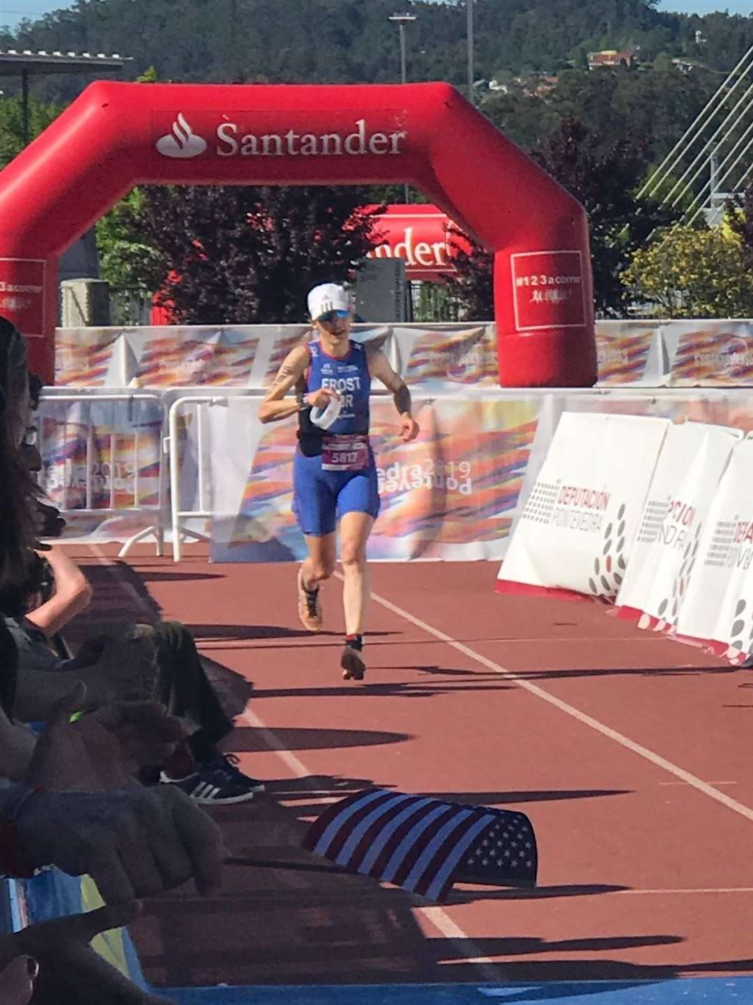 Sharon Frost completes the long distance triathlon at the ITU 2019 world multisport championships in Pontevedra, Spain to finish 18th in her age category