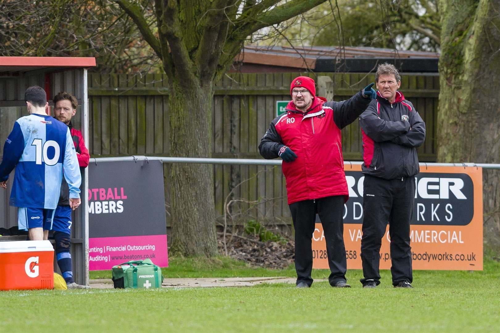 Bacton United 89 manager Ryan Owens (left) Picture: Mark Bullimore
