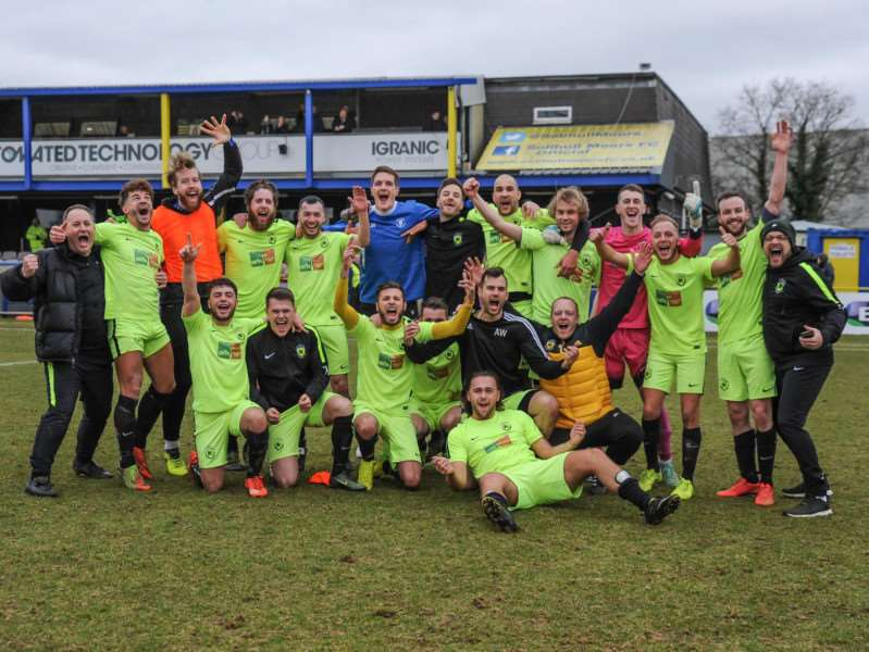FINALISTS! Gym United players and management celebrate at the final whistle at Solihull Moors FC, following a 2-1 FA Sunday Cup semi-final victory over Mayfair FC Picture: Garry Griffiths