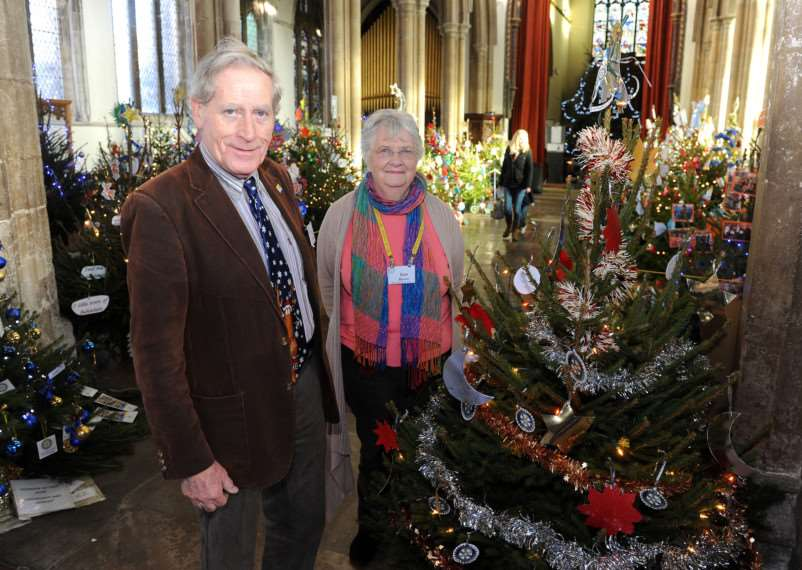 St Peters Church Christmas Tree Festival''Pictured: Rod Donnelly (Sudbury Rotary Club) and Sue Bevel (talbot Rotary Club) ANL-141012-144546009