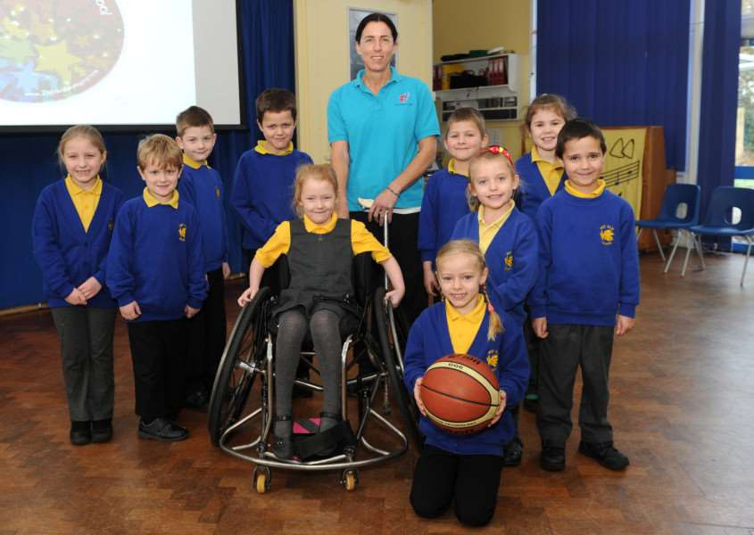 Paralympian Wendy Smith who represented Team GB at Athens 2004 in Wheelchair Basketball visited Pot Kiln Primary School ANL-160119-154402009
