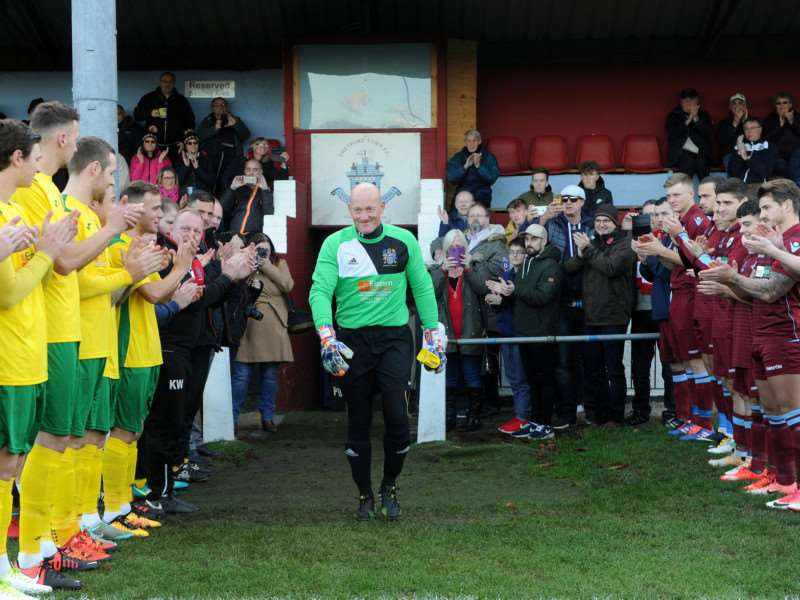 RECORD BREAKER: Wisbech Town goalkeeper Paul Bastock was given a guard of honour at Thetford Town as he broke Peter Shilton's long-standing appearance record Picture: Mecha Morton