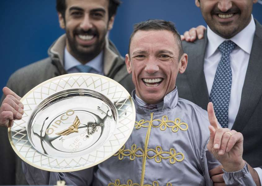 The Qipco Guineas Festival Saturday 30th April'Newmarket trainer Hugo Palmer celebrates winning 2000 Guineas with Galileo Gold ridden by Frankie Dettori.'Picture Mark Westley