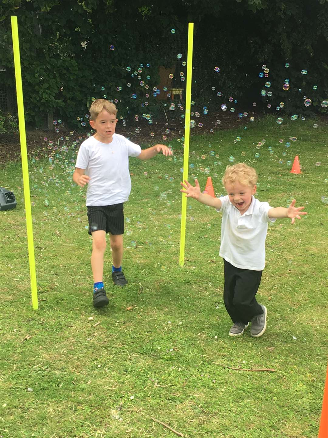 Tyler Gray and Oscar Smith at the bubble run at Tollgate Primary School in Bury St Edmunds.