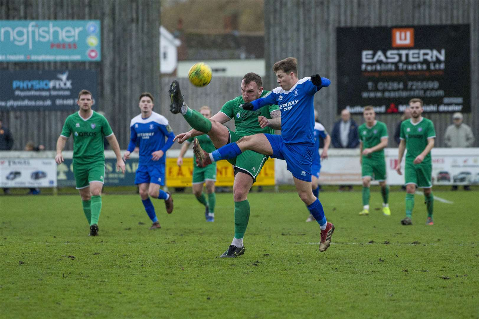Football - Bury Town v Canvey Island - Jake Chambers Shaw Beaten to the Ball- Location - Ram Meadow - Picture - Neil Dady. (25916186)