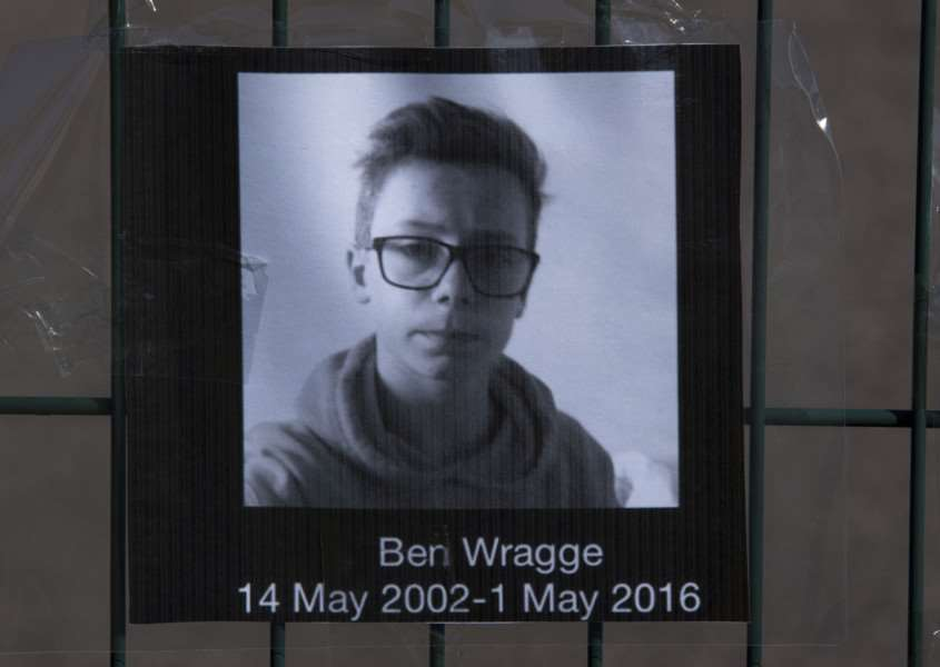 Tributes and flowers for Ben Wragge at Thurston College.''Picture Mark Westley ANL-160305-100024009