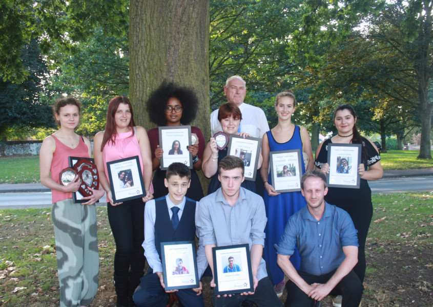 The Sophie Bavington Young Volunteer of the Year Awards. Back Row from left: Charlotte Willer, Jade McDonald, Feven Habtezghi, Tony Bavington, Jade Starling, Emma Wellesley-Welsley , Lana Korabik''Front Row - Oscar Fellowes, Adam Cotter, Will Ginno. ANL-160914-120833001
