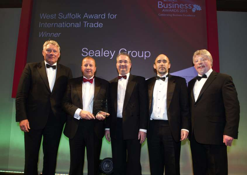 Bury Free Press Business Awards 2015 hosted by Simon Weston''Pictured: The West Suffolk Award for International Trade presented by John Griffiths (Council Leader) - Sealey Group ANL-151010-020310009