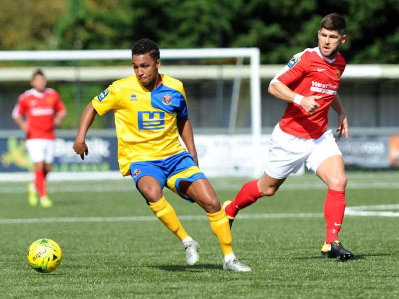 MOVING ON: Rhys Henry, pictured in action against Mildenhall Town in the FA Cup, has left AFC Sudbury by mutual consent Picture: Mecha Morton