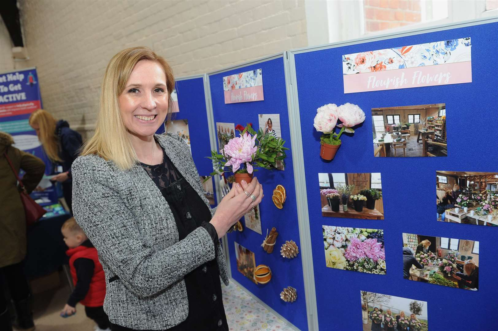 Active wellbeing taster session in Long Melford..Pictured: Laura French of Flourish Flowers Florist displaying some photos of her workshops...PICTURE: Mecha Morton.... (8539893)