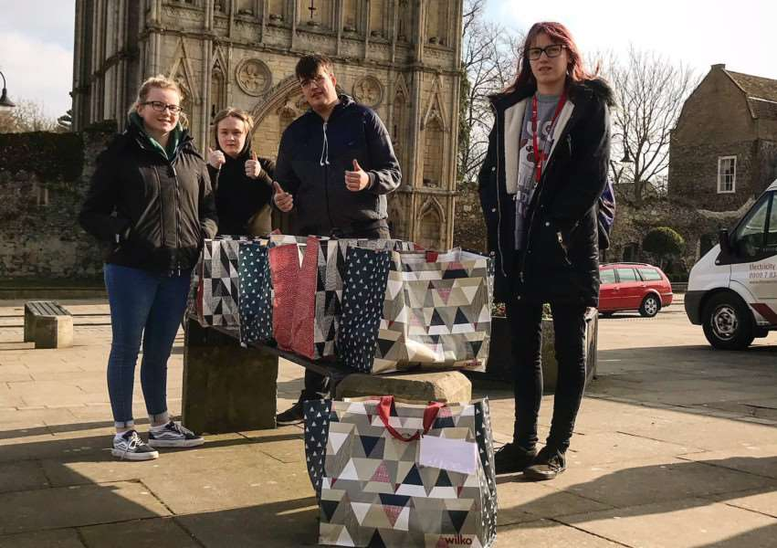Team 33, of the Prince's Trust at West Suffolk College filled Blessing Bags to hand out to homeless people in Bury St Edmunds
