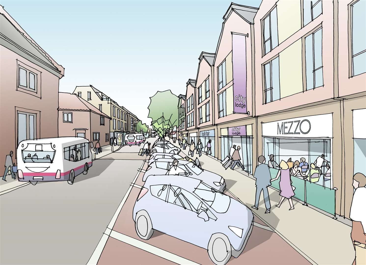 The Bury St Edmunds town centre masterplan's vision of St Andrews Street North