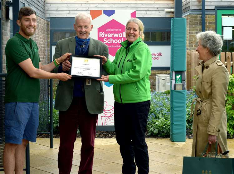 HIgh Sheriff of Suffolk Edward Creasy presents the Suffolk Award to Joannah Metcalfe from Greener Growth. Picture: Andy Abbott.