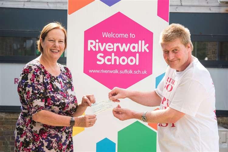 Jan Hatchell, headteacher at Riverwalk School, with former pupil Sandy Mowat. Picture: Mark Westley.