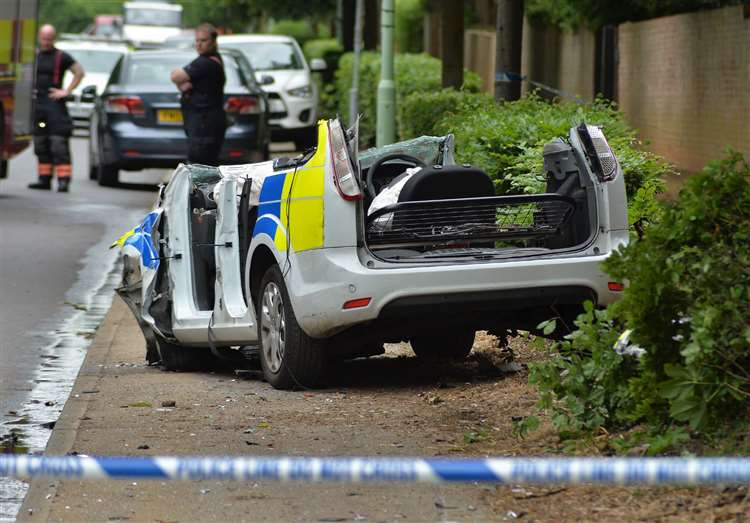 Pictures: Police car roof cut off after Newmarket crash
