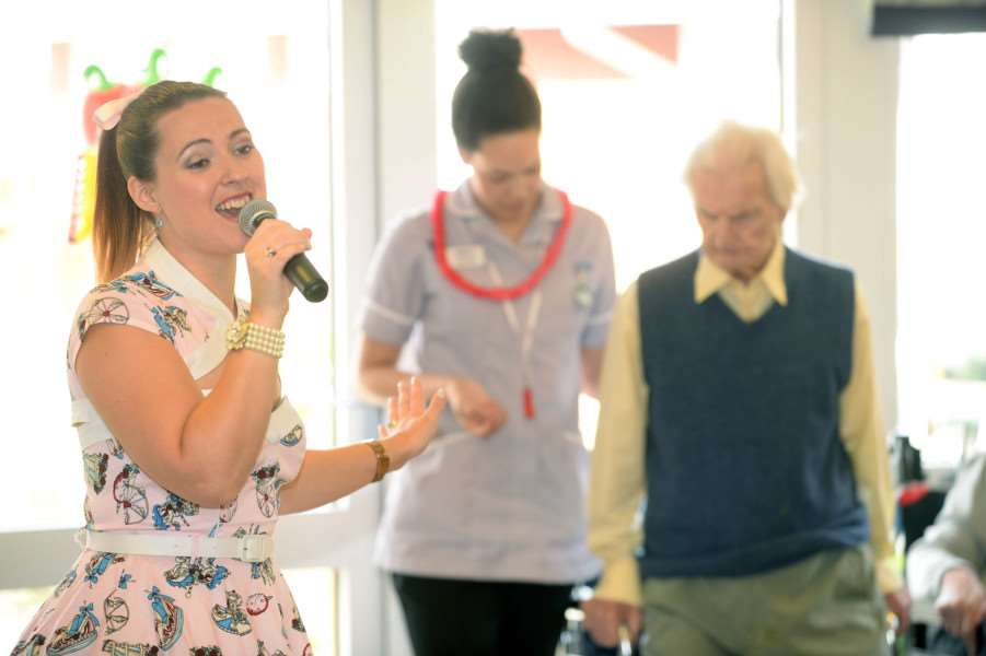 Local singer Sabrina Summer at Care UK's Glastonbury Court for Care Home Open Day ANL-160622-161550001