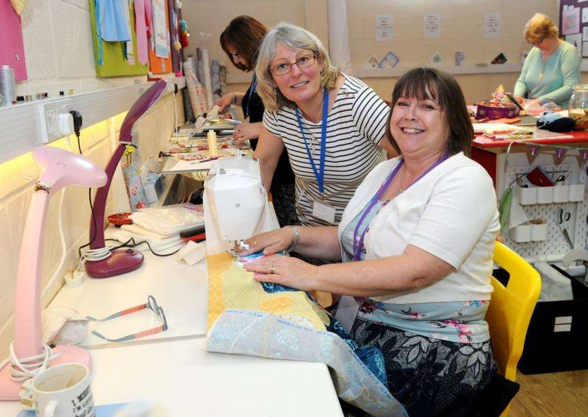 Debby Dyson held an open weekend at Snobbyeddy Crafts studi to show what is on offer. With Debby is Dawn Gower, who was making a fabric panel to be made into a quilt.'' Picture by Mecha Morton
