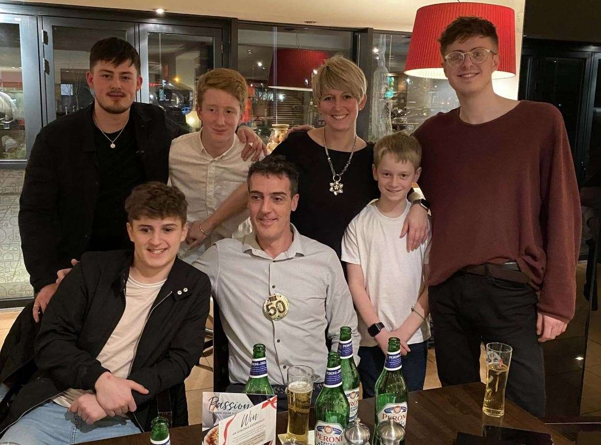 Neil and Helen with their sons from their previous relationships at Neil's 50th birthday. From left, back row George, Ben and Joe. From left, front row: Louis and Jamie. Submitted picture